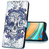 MRSTER Nokia 6.1 Handytasche, Leder Schutzhülle Brieftasche Hülle Flip Hülle 3D Muster Cover Stylish PU Tasche Schutzhülle Handyhüllen für Nokia 6.1 (2018). YB Blue Skull