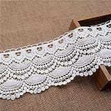 Cinta de encaje de algodón, 11 cm - 12 cm, estilo vintage, encaje de ganchillo, cinta de ganchillo, cinta decorativa para costura, artesanía, boda, decoración, scrapbooking, caja de regalo (blanco)