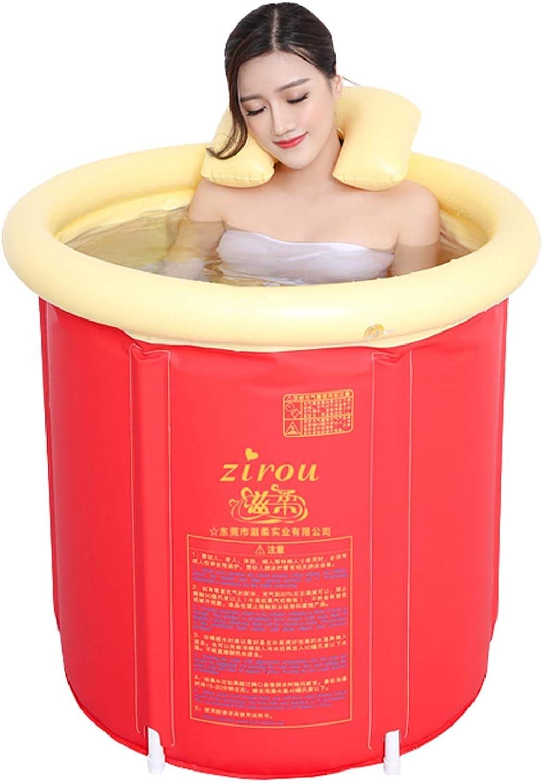 ESPERANZAXU Household Bath Tub, Adult Plastic Bath Tub, Thick PVC Folding Inflatable Bath Tub (red, 70cmx73cm)