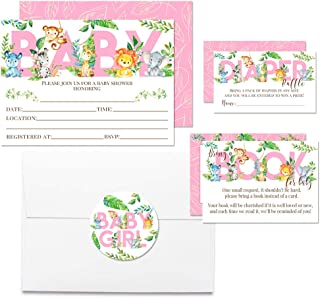 """Deluxe Watercolor Jungle Animals Baby Shower Party Bundle for Girls, Includes 20 each of 5""""x7"""" Fill In Invitations, Diaper Raffle Tickets, Bring a Book Cards & 2"""" Thank You Favor Stickers w/ Envelopes"""