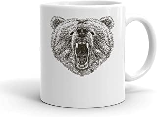 Awesome Big Grizzly Bear Head Drawing Design White Ceramic Mug For Tea And Coffee