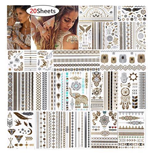URAQT Flash Tattoos, 20 Blätter Tätowierung Aufkleber, Temporäre Goldene Tattoos, 200 Designs Für Armband/Fußkette/Dreieck/Fingertattoo, Wasserdicht