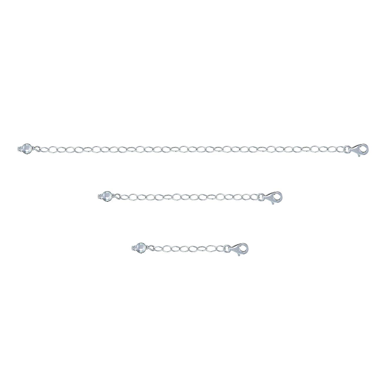GemStar USA Sterling Silver Pendant Necklace Bracelet Anklet Chain Extenders for Necklace, 1