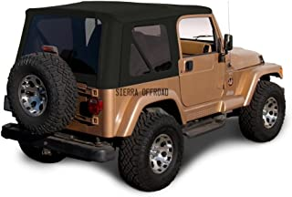 Sierra Offroad Jeep Wrangler TJ (1997-2002) Factory Style Soft Top with Tinted Windows, without Upper Doors (Sailcloth Black)