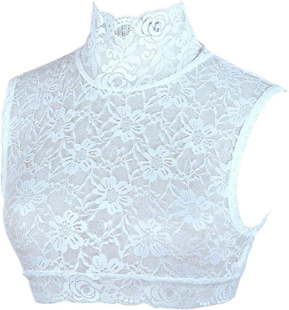 Booluee Floral Lace Turtleneck False Collar Half Blouse Dickey Collar Sleeveless Pullover Underwear Fake Collar