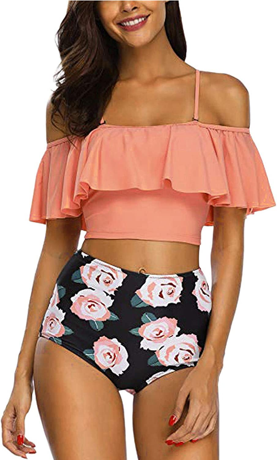 FORUU Off The Shoulder for Women 2021,Summer Two Pieces Ruffled Bathing Suit with High Waisted Bottom Cute Bikini Set