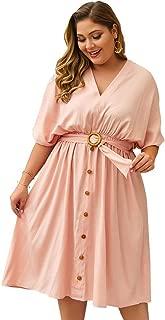 Women's Short Sleeve Dress Casual Plain V-Neck Button Belt Large Size Dresses Simple (Color : Pink, Size : XXXXL)