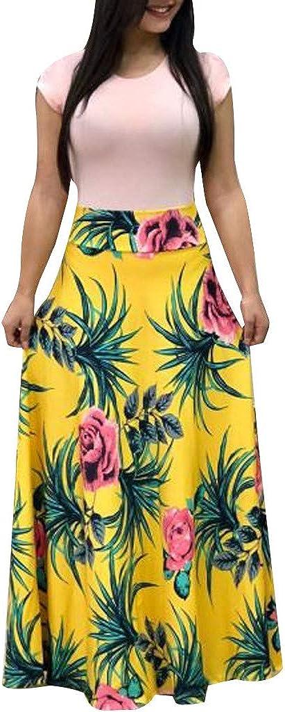 Summer Dresses for Women,Womens O Neck Short Sleeve Polka Dot Patchwork Long Maxi Dress Hollow Out Cover Up Sundress