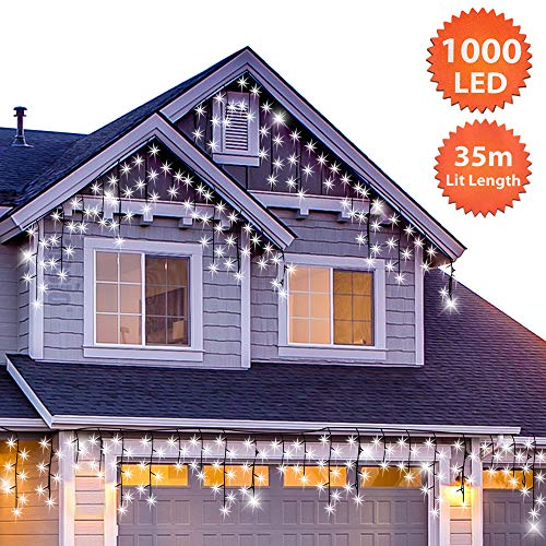 ANSIO Christmas Icicle Lights Outdoor 1000 LED...