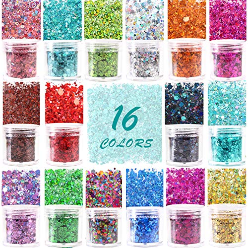 Holographic Chunky Glitter Sequins 16 Colors Mixed Cosmetic Glitter for Face Body Eye Hair Nail Art Lip Gloss, Festival Glitter Makeup with Different Hexagons Size and Stars