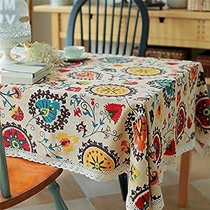 superwinger Vintage encaje flor del sol Mantel, lienzo de lino bordado Rectángulo lavable Dîner pic-nic ropa de mesa, talla A Juego, multicolor, 90x140 cm (36x55 inch)