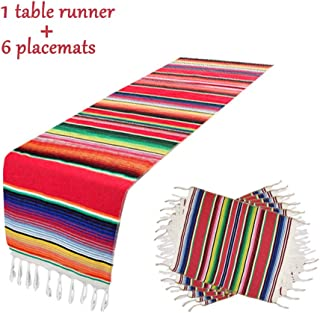Mexican Table Runner with 6 Place Mats, Mexican Party Wedding Decorations Outdoor Picnics Dining Table, Fringe Cotton Handwoven Table Runners,Table Runner 14 x 84 Inch(Red Table Runner + 6 placemats)