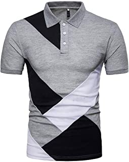 Hombres Verano Manga Corta Polo para Hombre Original Camiseta Básica de Manga Corta de Calidad Diseño Original caballero Camisa de Empalme Polo con punta Camisa