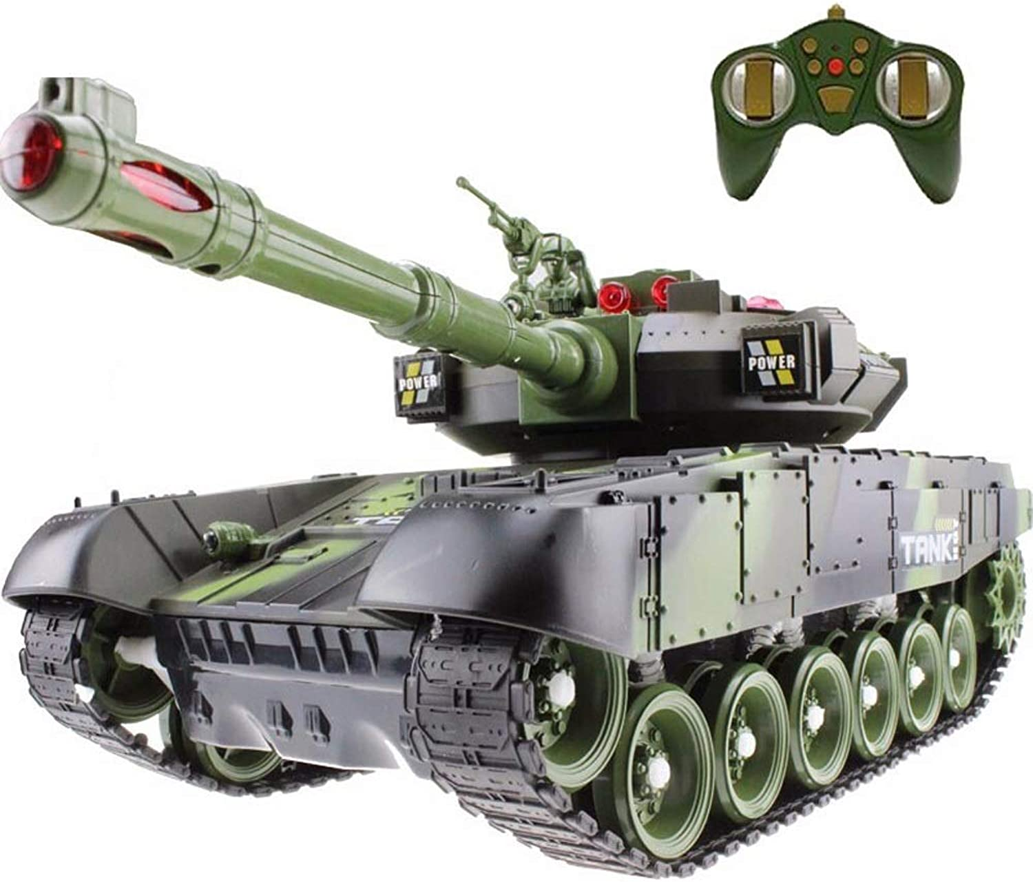 Kikioo Mini RC Tank 2.4GHz With USB Charger Cable Radio Remote Panzer Tank Simulation Army Battle Kit Model Sound, redating Turret And Recoil Action When Cannon Artillery Shoots For Kids Gifts (green)