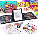 Dinonano Drawing Painting Art Set for Kids - 238 Pieces Paint Makers Coloring Set Sketch Pad Easel Oil Pastels Crayons Watercolor Pencils Markers for Toddler Boys Girls Age 3 4 5 6-12