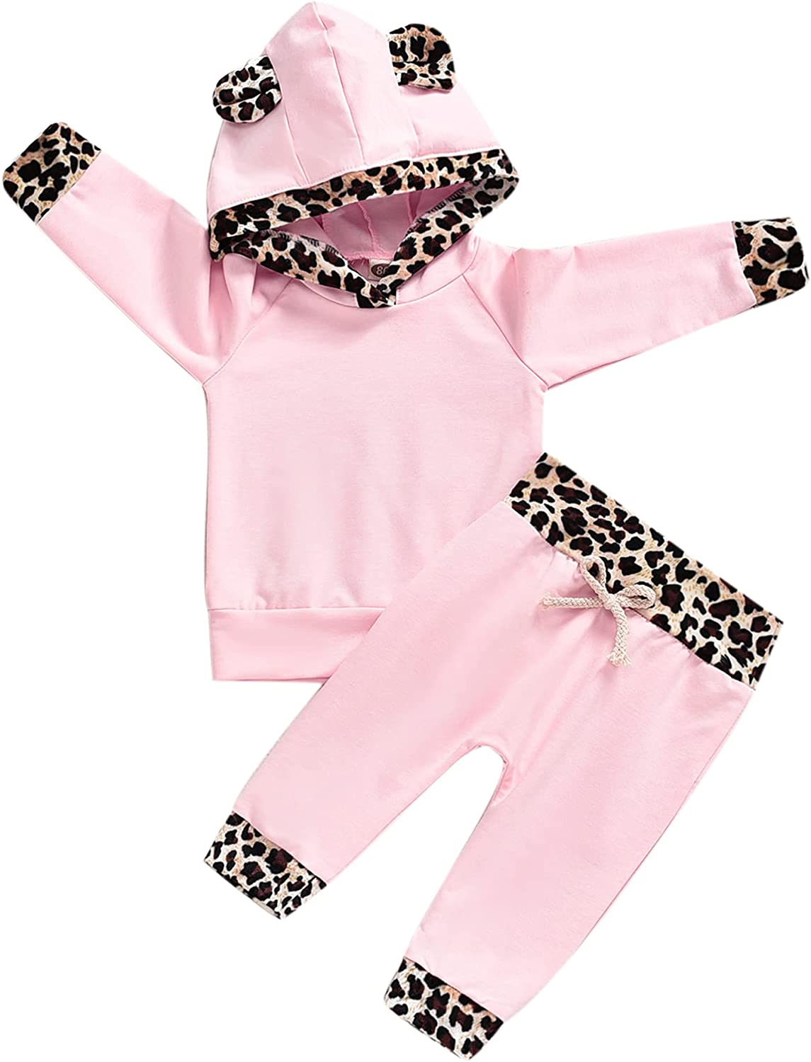 Infant Baby Girls Outfits Floral Hoodies Pullover Sweatshirt Pants Fall Winter Clothes Set