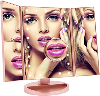 ASCINATE Lighted Mirror with Lights Makeup Mirror Touch Screen Dimming, Tri-Fold Mirror 3X/2X/1X Magnification 180 Degree Rotation Desk Tabletop Vanity Makeup Mirror Portable (Rose Gold)