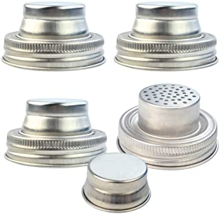 obmwang 4 Pack of Stainless Steel Mason Jar Shaker Lids Caps for Cocktail,Dredge Flour,Mix Spices,Sugar, Salt, Peppers and...