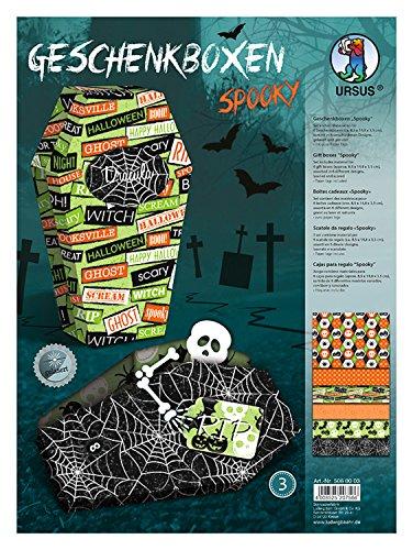 Ursus 5060003 - Geschenkbox Spooky, 6 Geschenkboxen mit verschiedenen Motiven, aus Fotokarton 300 g/qm, beidseitig bedruckt, gelasert und genutet, inklusive 12 Paper Tags und Bastelanleitung