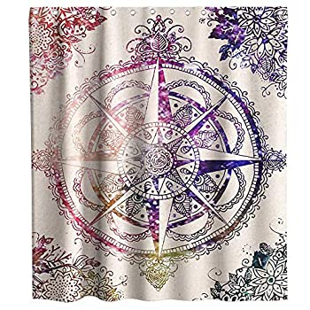 Antique Wind Rose Diagram for Cardinal Directions Axis Nautical Illustration Theme Fabric Compass Shower Curtain Sets Kids Bathroom Decor with Hooks Waterproof Washable 72 x 72 inches Purple and Beige