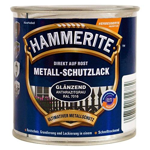 HAMMERITE 5272541 Metallschutzlack Metall-Schutz Rostschutz-Farbe 2in1 glänzend, anthrazitgrau, 750ml