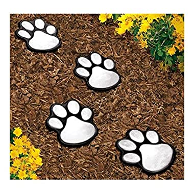 4 solar dog animal paw print Lights garden statue lantern LED path 3  light lamp
