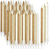 Metallic Glitter Long Thin Birthday Cake Candles in Holders (5 in., 48 Pack)