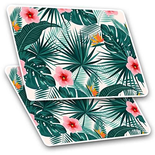 Pegatinas rectangulares (juego de 2) 10 cm, diseño de flores de hibisco tropicales, para portátiles, tabletas, equipajes, reservas, neveras, #14749