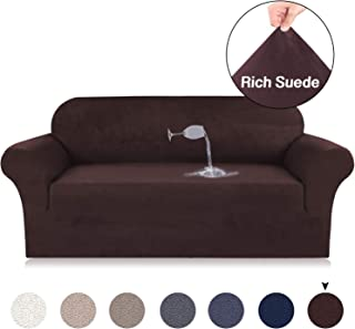 Turquoize Brown Sofa Slipcover Suede Couch Velvet Plush Slipcover Water Repellent Suede Sofa Cover Machine Washable Plush Slip Resistant Sofa Covers, 3 Seater Sofa Size (Sofa, Brown)