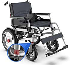 HATHOR-23 Electric Folding Wheelchair with Brakes and Shock Absorber Spring Travel Wheelchair, Armrests Can Be Lifted, Pedals Can Be Removed, Battery Pack 50KG