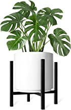 Mkono Plant Stand Mid Century Modern Tall Flower Pot Stands Indoor Outdoor Metal Potted Plant Holder, Plants Display Rack Fits Up to 12 Inch Planter(Planter Not Included)