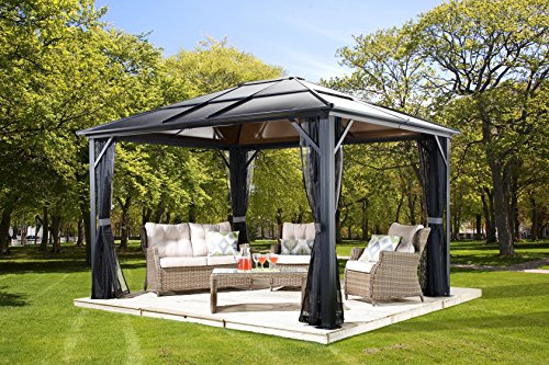 Sojag 500-5157864 Meridien Hardtop Gazebo Outdoor Sun Shelter, 10' by...