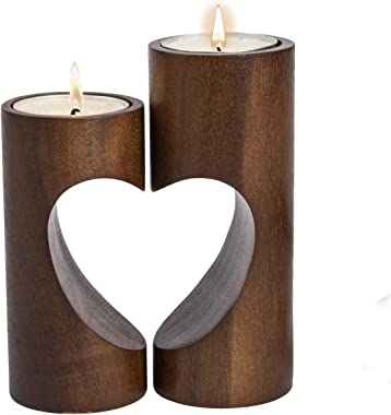 ChasBete Romantic Tea Light Candle Holders Decorative, Wood Tealight Candle Holder Set of 2 Unity Heart Pedestal for Home Déc