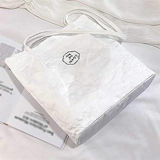 PPLAS Sacs de Femmes rétro en Papier Kraft Sacs d'épaule Anti-éclaboussures Lettre Couleur Unie Sac à Main Lady Style Simp...