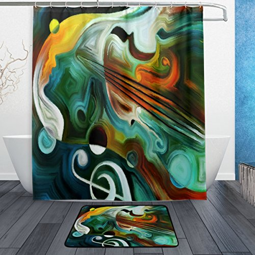 """Naanle Abstract Art Colorful Musical Shapes and Music Note Waterproof Polyester Fabric Shower Curtain (60"""" x 72"""") Set with 12 Hooks and Bath Mats Rugs (23.6"""" x 15.7"""") for Bathroom - Set of 2"""