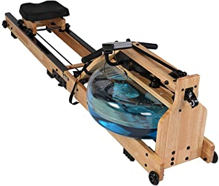 Water Rowing Machine Heavy Duty Wooden Rower with Water Resistance Adjustable LCD Monitor for Calories Burned Sports Exerc...