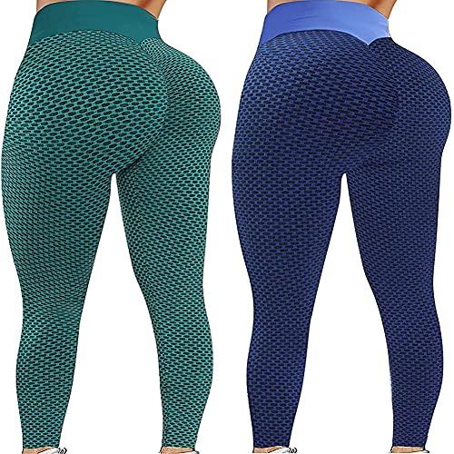 Paquete 2 Push Up Leggings para Mujer, Cintura Alta Mujer Malla Celular Pantalón de Yoga Leggings, Butt Lifter Anti-Cellulite Deportivos Yogapants para Yoga Pilates Fitness (N,XXL)