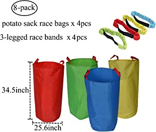 Potato Sack Race Bags (4 Pack) with 3-Legged Race Bands (4 Pack) - Premium Oxford Fabric & Bright Color - Popular Party Yard Games for Children and Adults Family Gathering