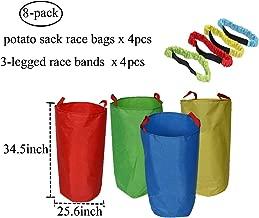 أكياس سباق بطاطا (4 حزم) مع أربطة سباق ثلاثية الأرجل (4 عبوات) - نسيج أكسفورد فاخر وألوان زاهية - ألعاب ياردة الحفلات المشهورة للأطفال والبالغين تجمع أفراد العائلة