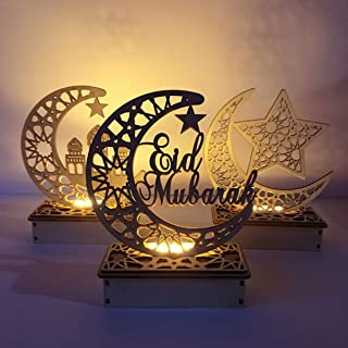 Mobestech 3PCS Ramadan Mubarak Eid Decorations Wooden Moon Star Lights Table Top Ornaments for Home Party Supplies, Three ...