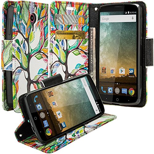 Galaxy Wireless Compatible for ZTE ZMAX Grand, ZTE Champ, ZTE Avid 916, ZTE Grand X 3 CaseFlip Folio Wrist Strap [Kickstand] Pu Leather Wallet Case with ID Slots for ZTE ZMAX Grand - Colorful Tree