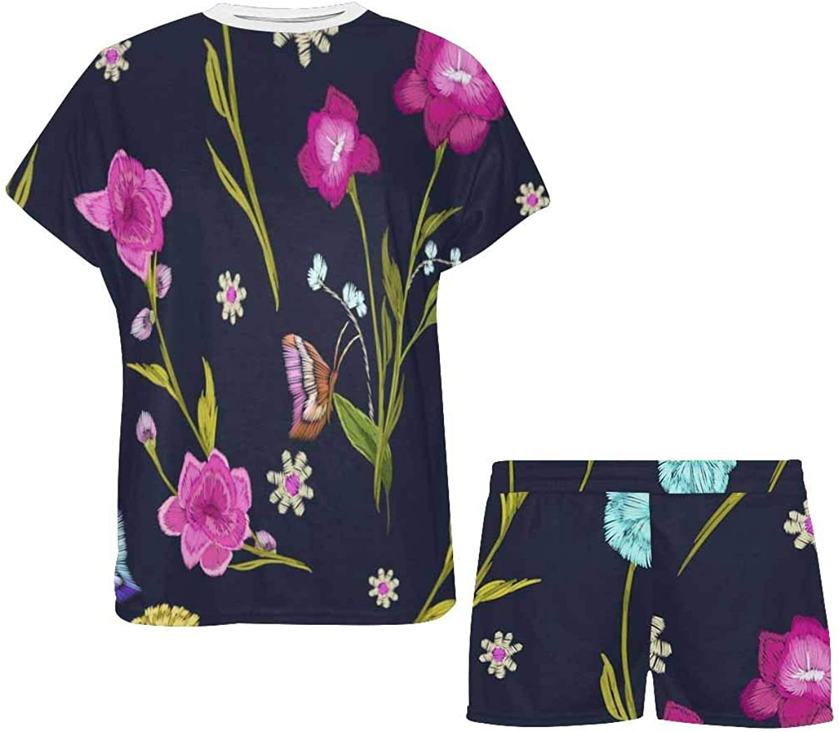 INTERESTPRINT Butterfly and Flower, Leaf, Branch Women's Pajama Sets Short Sleeve Shorts - Pajamas for Women