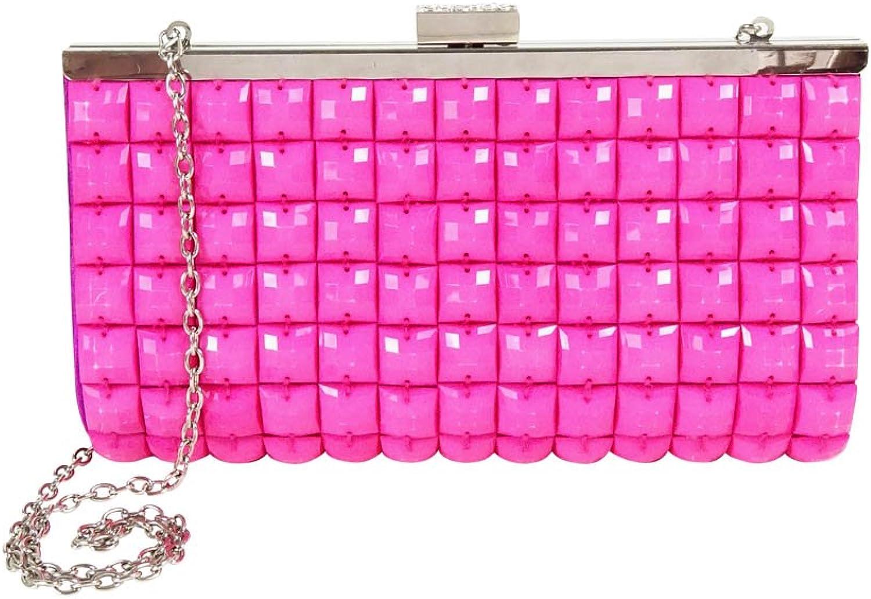 La Regale Candy Crystal Tile Clutch, Pink