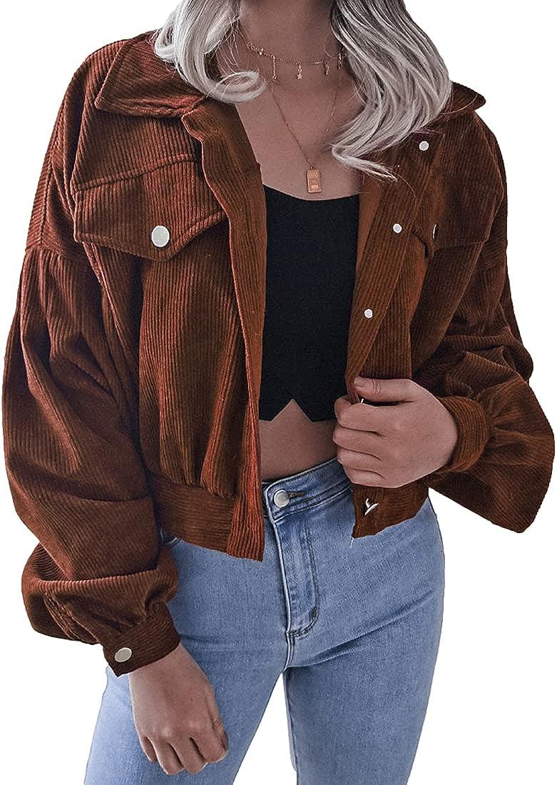 AMEBELLE Women's Corduroy Shirt Jackets Loose Button Down Long Sleeve Crop Coat