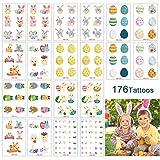 Tatouages temporaires de Pâques pour les enfants, 20 feuilles autocollants de tatouages de dessin animé pour enfants pour les décorations de fête Stuffers Basket