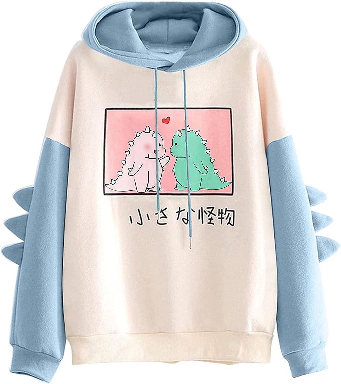 Women's Cute Dinosaur Hoodie Sweatshirts Teen Girl Casual Long Sleeve Drawstring Color Block Hooded Loose Comfy Tops