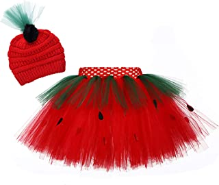 Kids Girls Layered Strawberry Tulle Tutu Skirt for Birthday Photography Halloween Cosplay Tutu Costumes for Kids with Hat