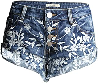 Jieming 春と夏の新しいヘビーデューティ刺繍着用デニムホットパンツ女性のフリンジ付きカールワイドレッグパンツ (Color : Blue, Size : M)