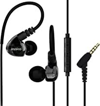 Joysico Sports Headphones Wired Over Ear In-ear Earbuds for Kids Women Small Ears, Earhook Earphones for Running Workout Exercise Jogging, Ear Buds with Microphone and Volume for Cell Phones MP3 Black