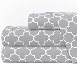 Egyptian Luxury 1600 Series Hotel Collection Clover Pattern Bed Sheet Set - Deep Pockets, Wrinkle and Fade Resistant, Hypoallergenic Sheet and Pillowcase Set - Queen - Light Gray/White